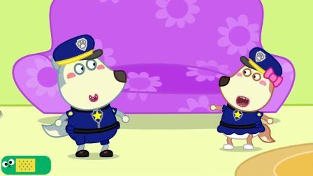 抓住淘气的丹妮 沃夫变身警察