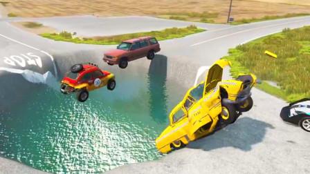 车祸模拟器:路上突然出现大坑好多车都掉进去了