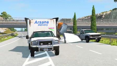 车祸模拟器:大桥的限高太低导致路过的大货车全部撞毁了