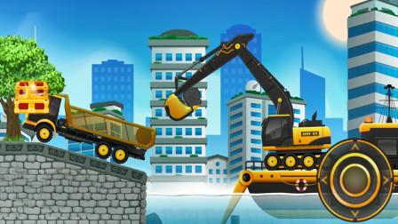 全能老司机模拟游戏,挖土机和土方车装载河里的石头