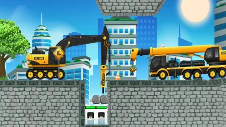 全能老司机儿童游戏,碎石机和吊机模拟施工