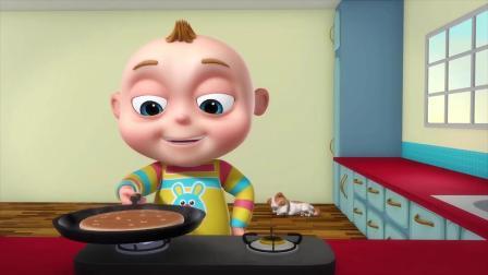 宝宝自己做好吃的,谁料刚做好就飞到房顶上