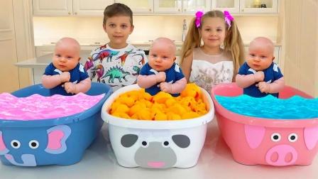 萌娃玩具乐园:萌娃和爸爸玩游戏,教弟弟认识各种不同的颜色!
