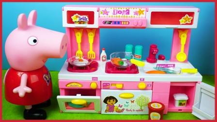 小猪佩奇玩可以发光发声音出水的电动厨房玩具
