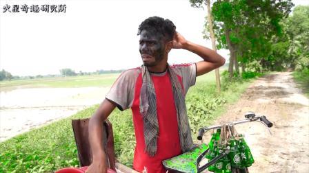小伙被颜料抹成黑鬼,吓到路上一群人
