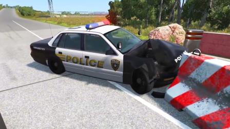 车祸模拟器:路口处放了一块升降路桩好多车都撞上了