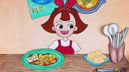 女孩吃韩国料理,蔬菜包肉一大口超美味!