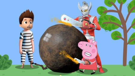 小猪佩奇和泰罗奥特曼一起解救汪汪队立大功莱德