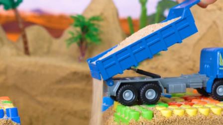 儿童趣味益智玩具,吊车与压路机修理地下管道?