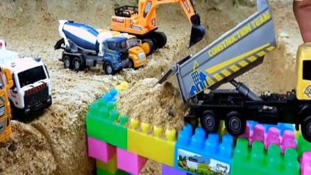 户外儿童玩具车,汽车工程车修建桥梁?