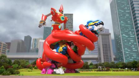 迷你特工队被章鱼骑士偷袭,巨型霸王龙用烈焰烤熟章鱼!