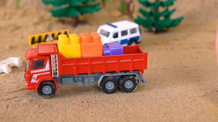 工程车搭建大桥,亲子益智。