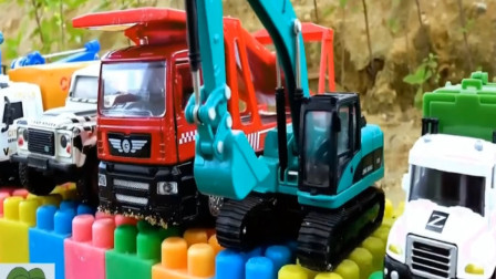 工程车们合作搭建积木大桥,能否建成呢?