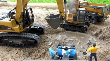 工程车挖掘机在工地挖坑,它挖来做什么呢?儿童创意玩具。