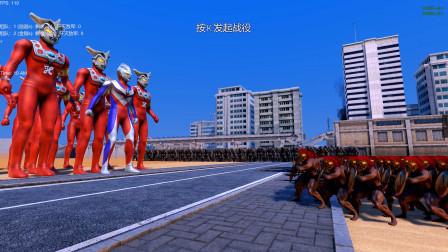 史诗战争模拟器:迪迦奥特曼带领10个雷欧奥特曼能消灭500斯巴达勇士和500金刚吗?
