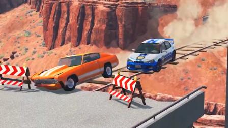 车祸模拟器:马路断了车子只能从临时搭建的木桥上过