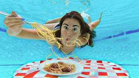 美女挑战水下吃沙拉,能成功吗?没想到最后这样了