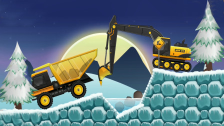 全能老司机儿童游戏,土方车和挖掘机装载石头