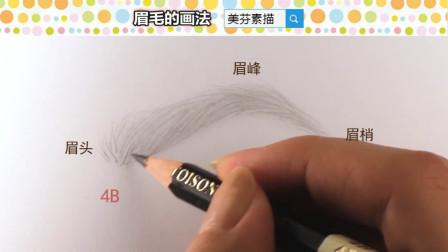 眉头眉梢和眉峰的画法,漂亮眉毛的线条技巧。素描入门眉毛教程