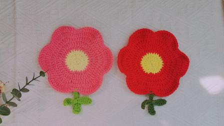 毛线钩织一个小红花杯垫  豫豫手工编织