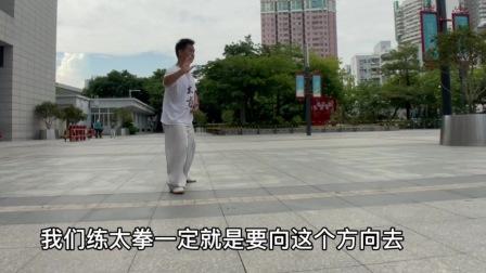 男子在公园分享太极拳的技巧,他说练拳避免双重,看他具体怎么做的