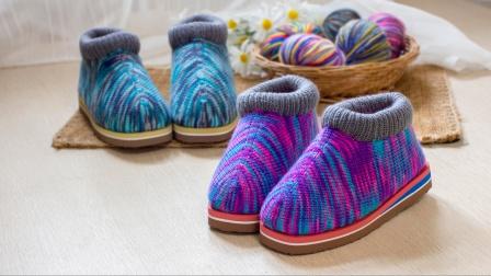 雅馨绣坊双色前面起针棉鞋编织教程