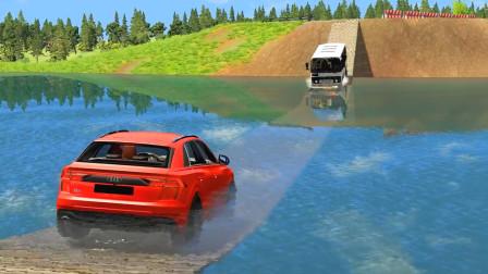 车祸模拟器:临时搭建的木桥用来开车结果车都掉河里