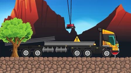 大卡车运输货物遇到断桥,吊机来搭建