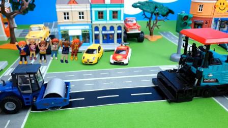 趣味益智玩具车: 挖掘机模拟搬运车轮, 压路机模拟压路?