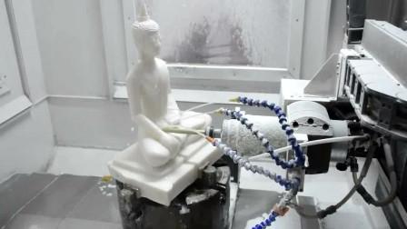 五轴立体玉石雕刻机,数控雕刻汉白玉佛像摆件制作过程
