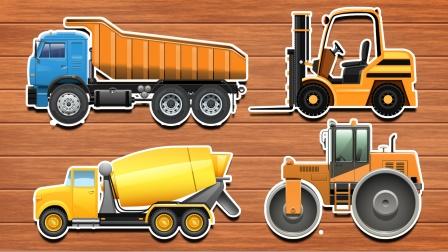 工程车玩具:卡车 水泥搅拌车在工地上忙碌的工作
