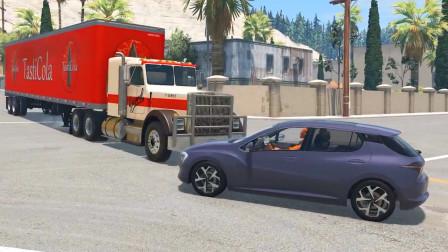 车祸模拟器:集装箱报废把路给堵住了路过车辆只能从车底下过