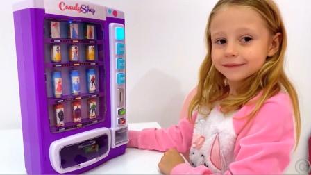 萌娃小可爱有一个神秘的糖果机,结果却令人沮丧呀