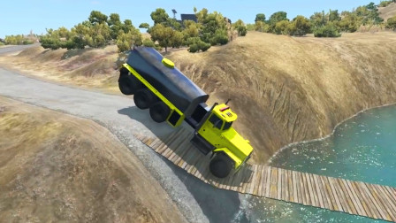 车祸模拟器:海面上架设木桥结果让大货车压断了