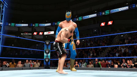 WWE无面人vs莱斯纳,无面人身高优势明显,身高2米5