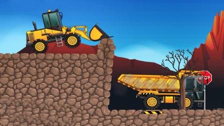 工程车模拟游戏,推土装载机和土方车装载石头