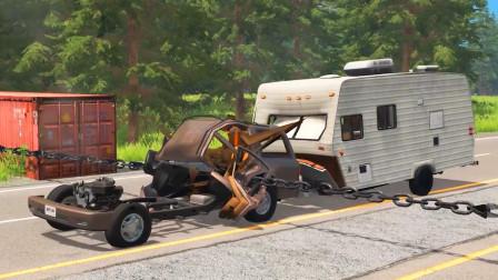 车祸模拟器:公路上拉了一条铁链导致车辆都撞报废了