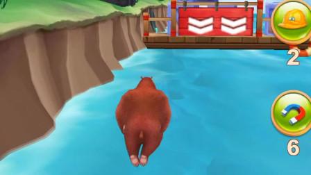 熊出没游戏:熊大陆地跑,水里游
