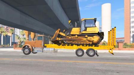 车祸模拟器:运输推土机进城结果被大桥卡住了
