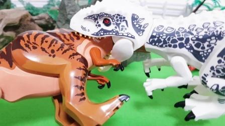白色恐龙从围栏了逃跑了,大家一起来抓它