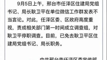 河北邢台一局长在工作群发情色消息 官方通报:已免职