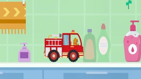 动物汽车大冒险儿童游戏,开一辆消防车去闯关