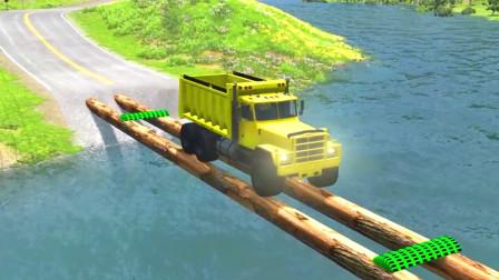 车祸模拟器:开车从木桥通过结果翻车了
