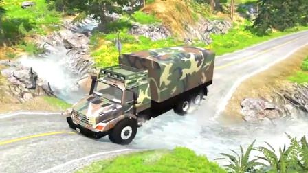 车祸模拟器:河水上涨把路给淹了村民只能开车从河里过了