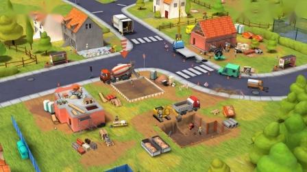 少儿卡通动画 乐高人在土地修房子 大货车 罐车帮忙工作