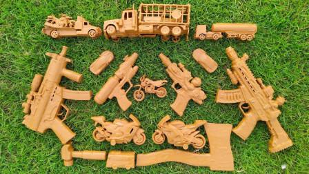 草地上找到超多玩具车和玩具枪,可是工程车、挖掘机怎么都是泥?