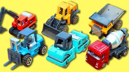 儿童挖掘机工程车玩具,一起认识搅拌车压路车,思维认知玩具故事