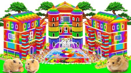 如何用磁球建造带有喷泉的古堡玩具