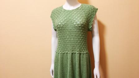穿着自己钩的裙子出门,朋友问我哪买的,孔扇花连衣裙教程(四)