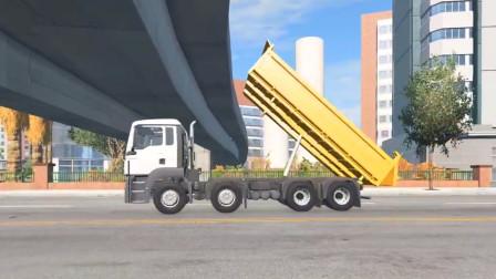 车祸模拟器:高速公路限高两米大巴车直接被卡住了